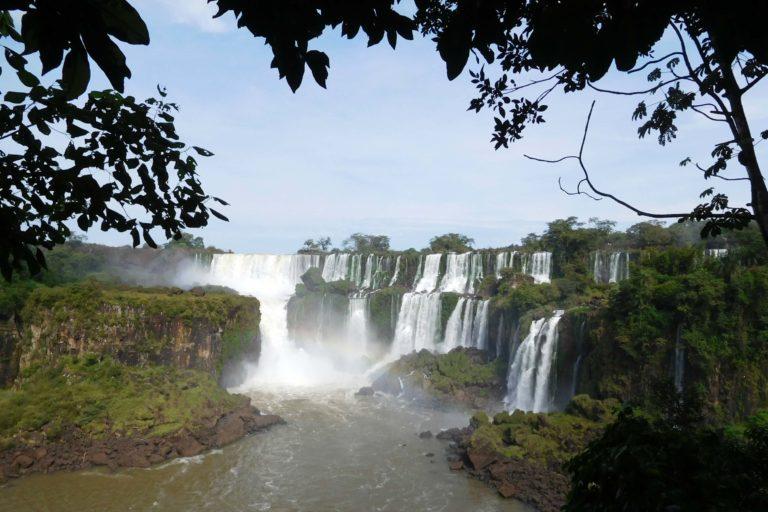 Waterfalls, forest, grey sky