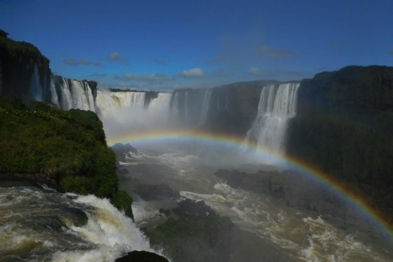 Waterfalls, rainbow, mist, blue sky