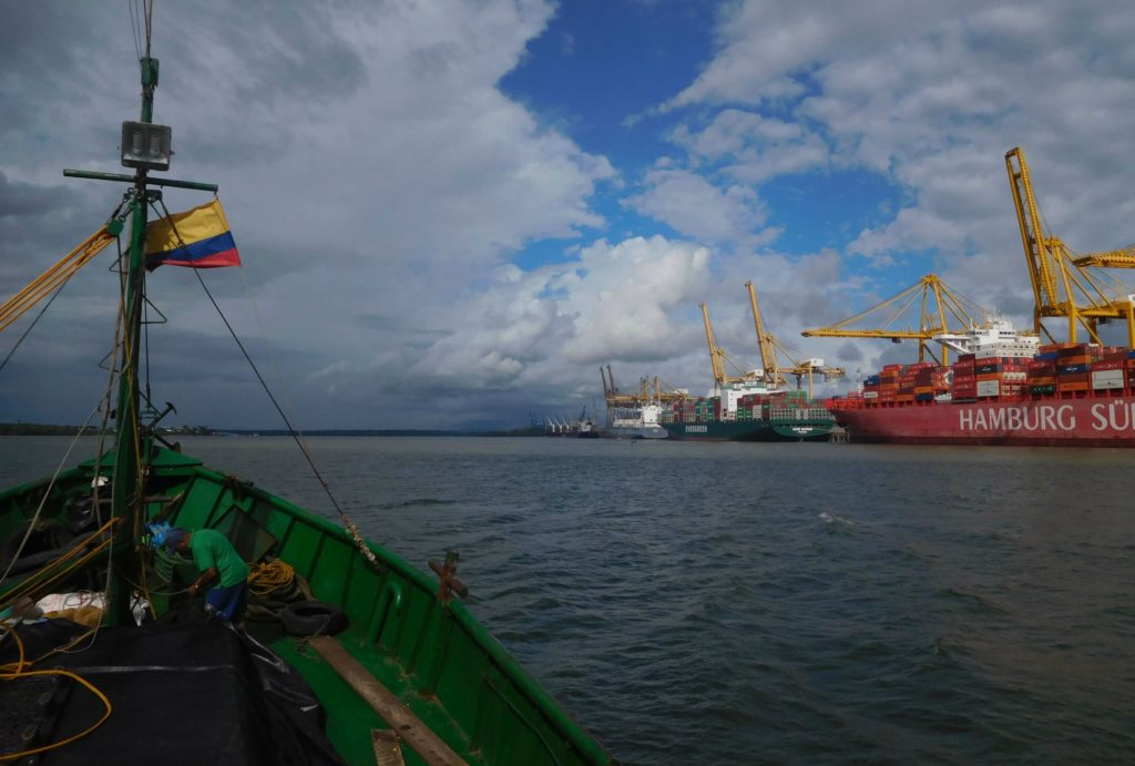 Cargo boat approaching harbour