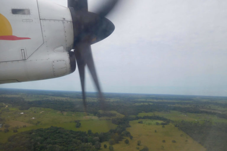 Propellor small airplane turning, part of Satena logo, panoramic view forest, clouds