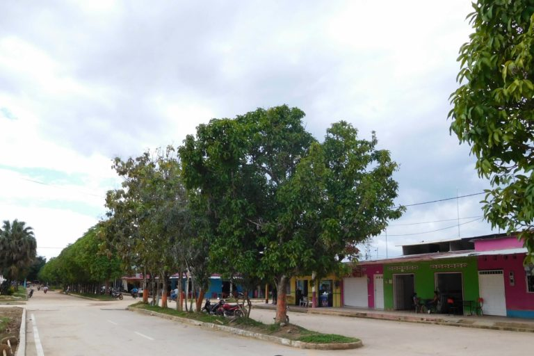 Dusty roads, colourful houses, trees separarting the road, clouds