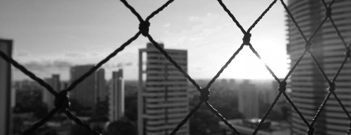 Zonsondergang flats Recife zwart-wit