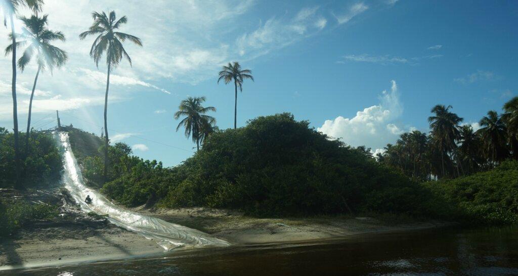 Natuurlijke glijbaan omringt door bomen in Natal